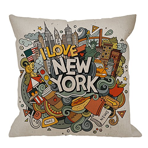 HGOD DESIGNS New York Decorative Throw Pillow Cover Case,Cartoon Doodles Inscription American Cotton Linen Outdoor Pillow cases Square Standard Cushion Covers For Sofa Couch Bed 18x18 inch Colorful
