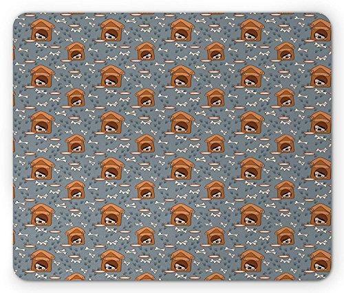 Hondenbeen muismat, een puppy slapen in een hondenhok patroon met pootafdrukken en voedsel kom Illustratie, standaard formaat rechthoek anti-slip rubber muismat, Multi kleuren
