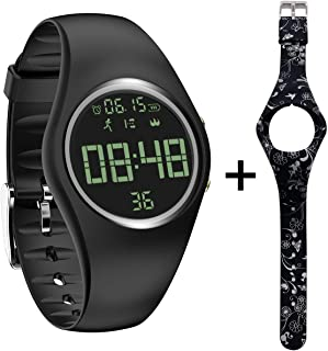 3D Non-Bluetooth Pedometer Watch Sport Wristband IP68 Swimming Water-resistant Fitness Tracker with Track Steps/Distance/Calorie/Clock/Timer for Walking Running Kids Men Women with Extra Band, Black