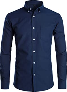 PARKLEES Men's Slim Fit Long Sleeve Smart Casual Button Down Oxford Shirts