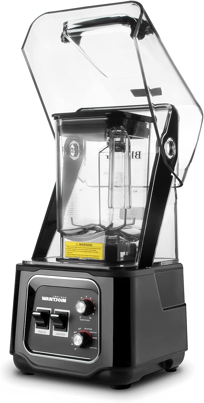 WantJoin Professional Commercial Blender With Shield Quiet Soundproof 2200W Industries Strong and Quiet Professional-Grade Power Blender (Black)