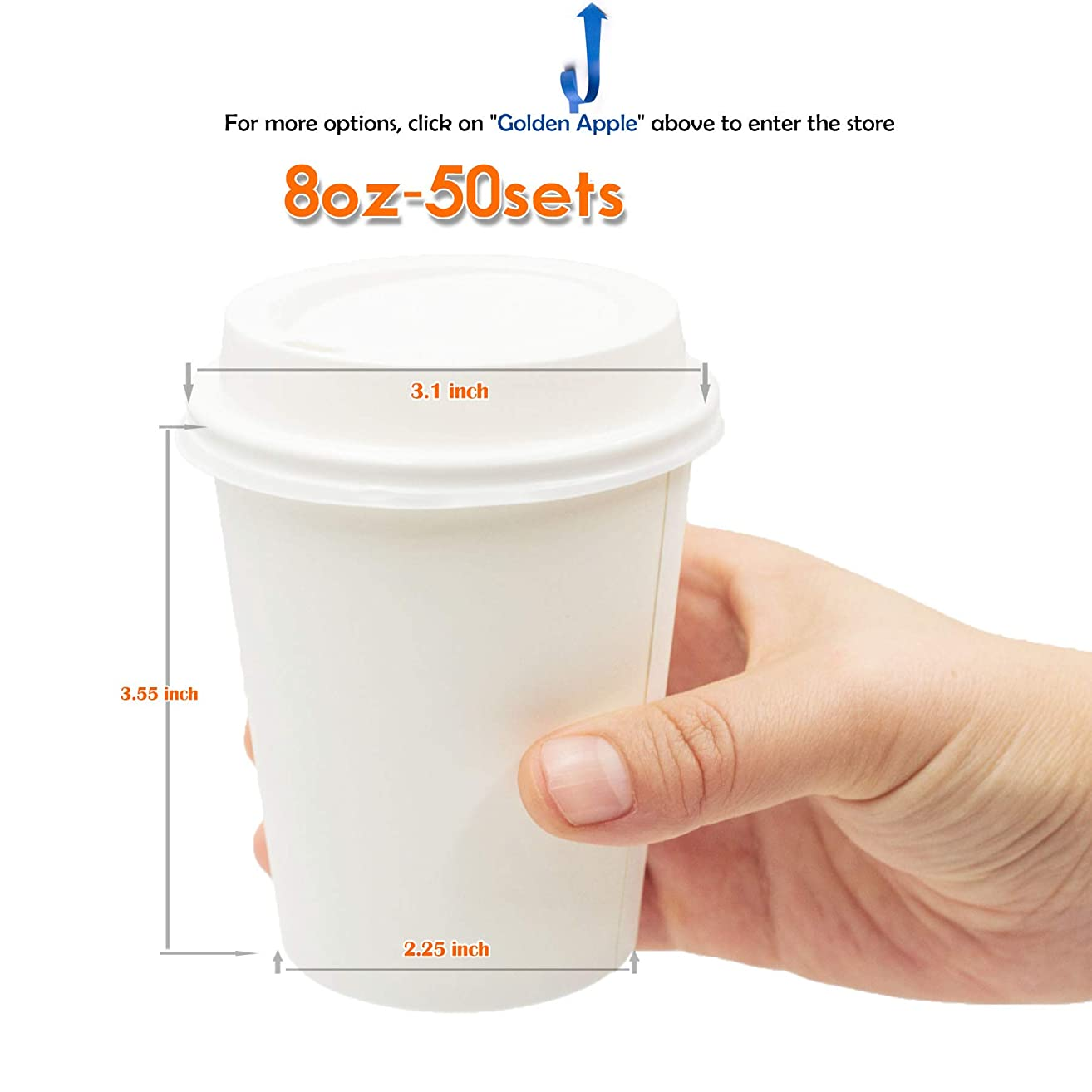 ?GOLDEN APPLE, Disposable Paper Coffee Cups 8 oz. Cups & Lids Quantity 50 Cups per Pack. Perfect for On-The-Go Hot or Cold Beverages.