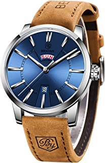 BY BENYAR Montre Homme avec Mouvement à Quartz Japonais   Luxury Brown Bracelet Bracelet Montres pour Hommes   Casual Spor...