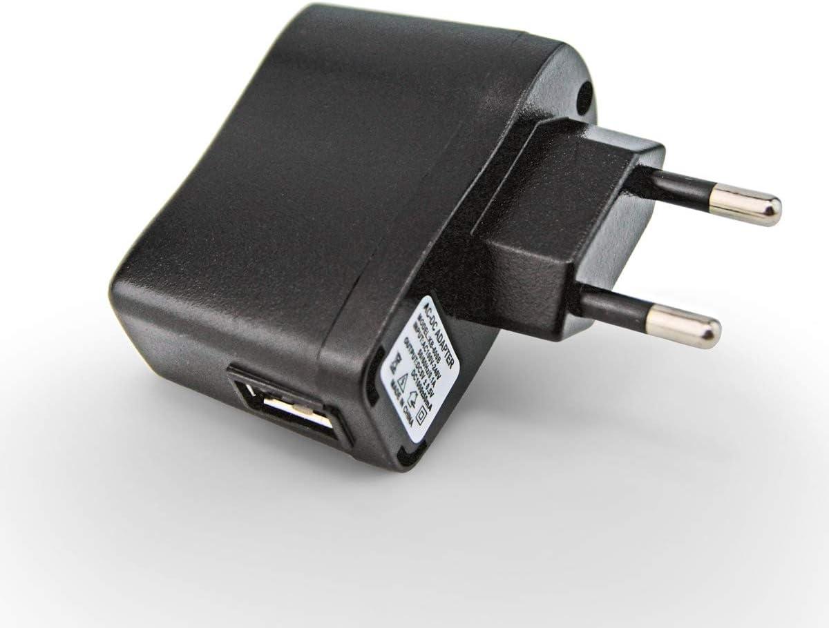 Adaptador PRUNUS AC/DC USB 5V1A con indicador Luminoso, radios y Altavoces, con batería Recargable de Litio (5V/1A, Negro)