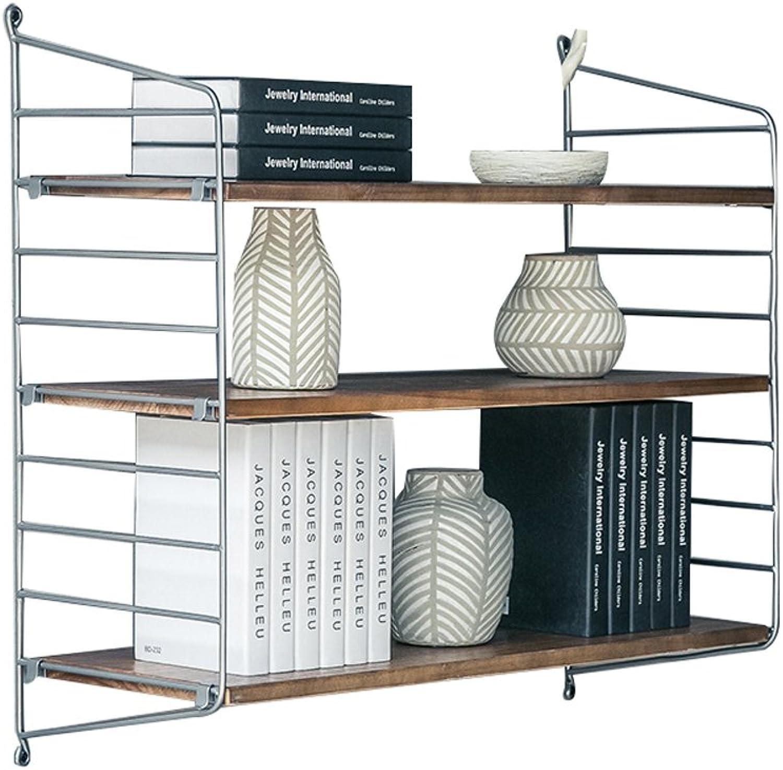 Caoyu Wall shelf, wrought iron solid wood wall, word partition, wall hanging, wall shelf, rack Bookcase storage shelf (Size   80  20  75cm)