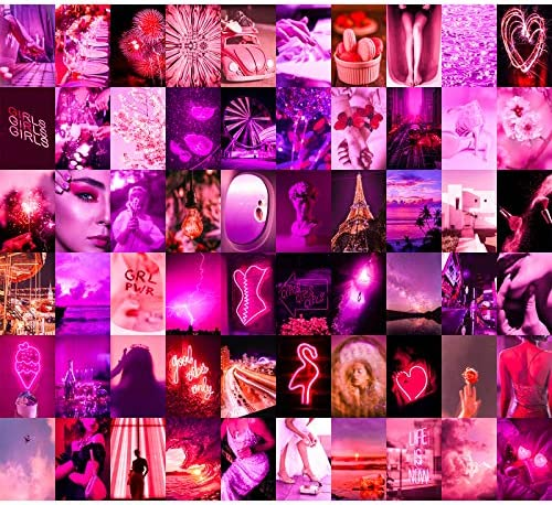 Wall Collage Kit 60 Set by Aesthetic Atmosphere for Wall Aesthetic 4x6 inch Neon Pink Pictures product image