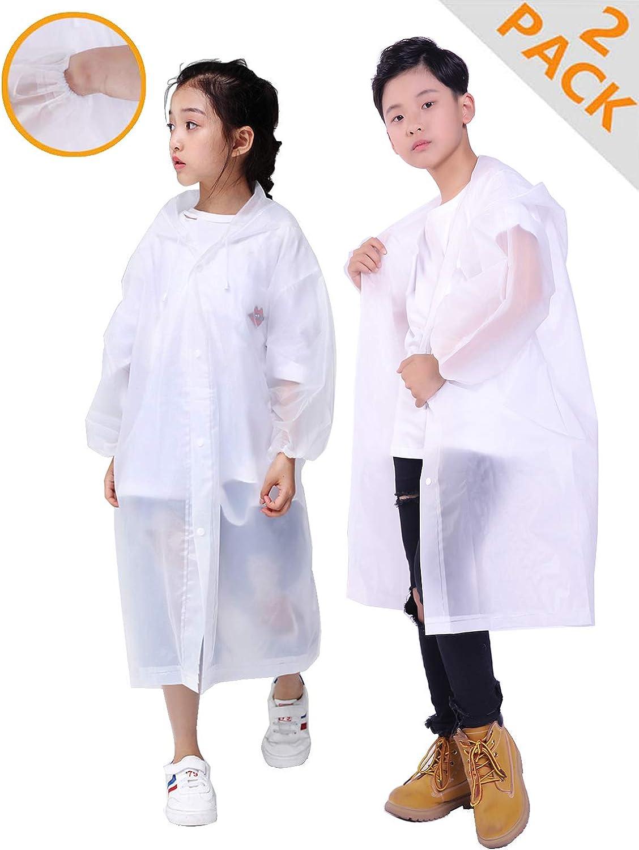 HLKZONE Raincoat for Kids, [2 Pack] EVA Kids Rain Coat Reusable Rain Poncho Jacket for Boys and Girls 6-13 Years Old