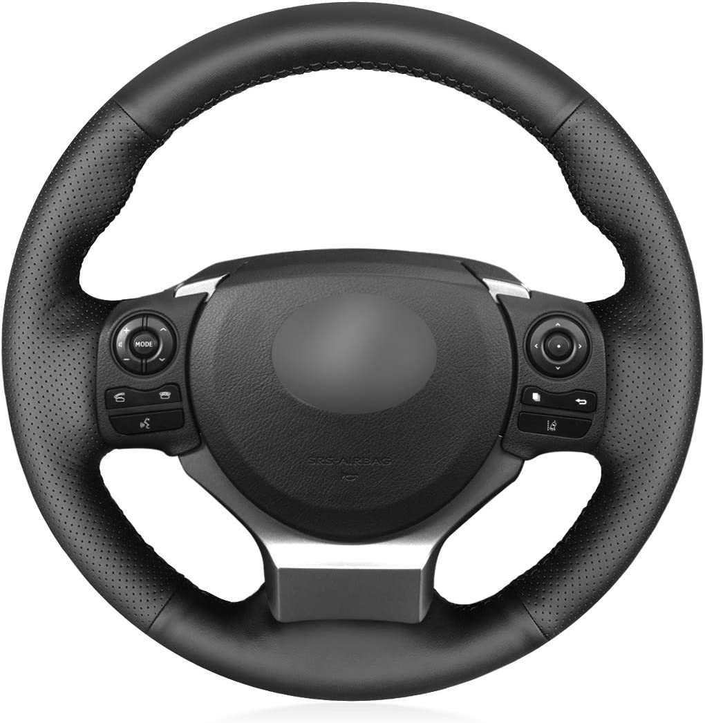 MEWANT Hand-Stitched Black Genuine Atlanta Mall Leather Steering Car Co Wheel excellence