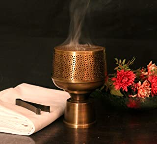 Courtyard SIROHI Incense Holder Burner Antique Brass (Stick/Cone/Coil Incense) | Traditional Design | Ajmeri Fumer with Tong