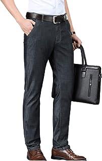Pantalones Vaqueros Rectos de Negocios Simples y cómodos Retro Verano Sueltos de Gran tamaño Antiarrugas sin Planchar