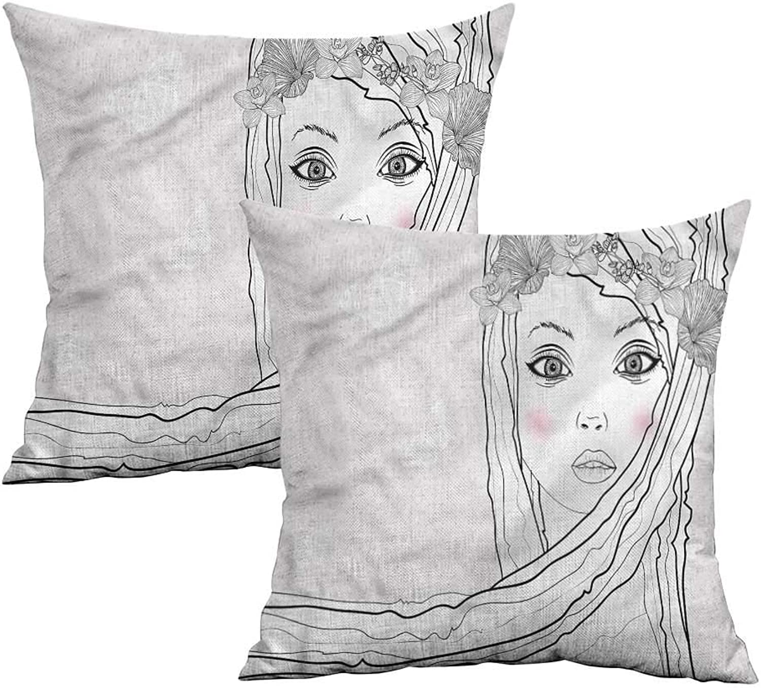 Khaki home Teen Room Square Pillowcase Covers with Zipper Girl with Floral Hair Square Personalized Pillowcase Cushion Cases Pillowcases for Sofa Bedroom Car W 20  x L 20  2 pcs