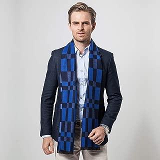 Scarf Imitation Cashmere Male Fall Winter New Business Leisure Lattice Warm Weather Warm Bib Gift` TuanTuan (Color : Blue)