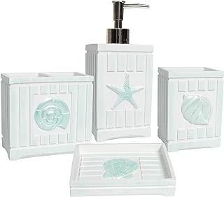 Sweet Home Collection Bathroom Accessories Collection Unique Decorative Beautiful Designs Bath Décor, 4 Piece Set, Beach Shells