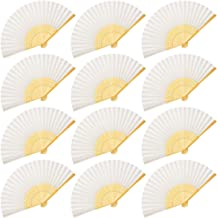 OMyTea Folding Hand Held Fans for Women - 12pcs Chinese Japanese Handheld Silk Bamboo Fans - for Wedding Guests, DIY Decoration, Performance, Dancing, Church, Party Favors, Festivals Gifts (White)
