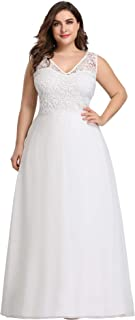 Ever-Pretty Women's Plus Size V-Neck Floral Lace Bridesmaid Dress 07686