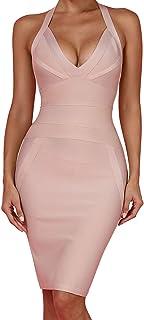 UONBOX Women's Sexy Halter V Neck Knee Length Party Rayon Bodycon Bandage Dress