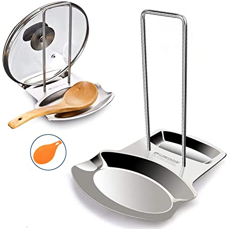Yummy Sam Lid and Spoon Rest,Stainless Steel Utensils Lid Holder Ladle Rest Pot Rack Multifunctional Storage Rack (Silver)