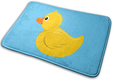 NGFF Yellow Rubber Duck Blue Water Bath Mat Non Slip Absorbent Super Cozy Velvet Bathroom Rug Carpet Bath Rugs