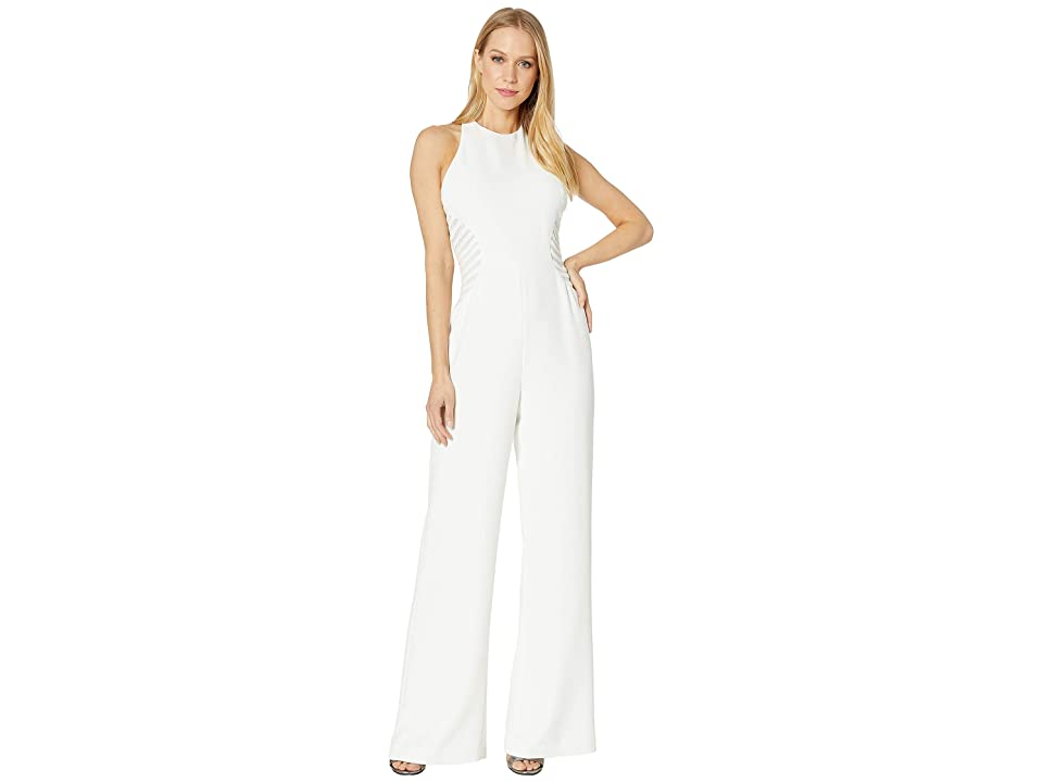 Halston Heritage Sleeveless High Neck Jumpsuit with Stripe Applique (Chalk 1) Women's Jumpsuit & Rompers One Piece