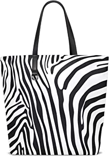FANTAZIO Schultertasche für Damen, Zebramuster