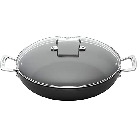 Sans PFOA /Ø 30 cm y Compris Induction Anthracite//Argent/é Compatible avec Toutes Sources de Chaleur Sauteuse Proven/çale Anti-Adh/érente en Aluminium Forg/é avec Couvercle Le Creuset