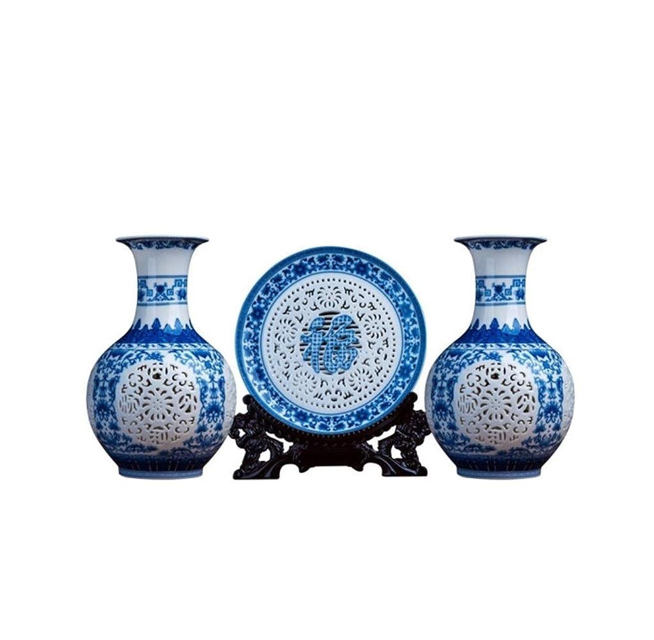 核潜む論争SBJG 景徳鎮セラミック中空花瓶装飾、リビングルームスリーピース装飾工芸品、中国の家のワインキャビネットポーチフラワーインサート、青と白の風の尾瓶スリーピース
