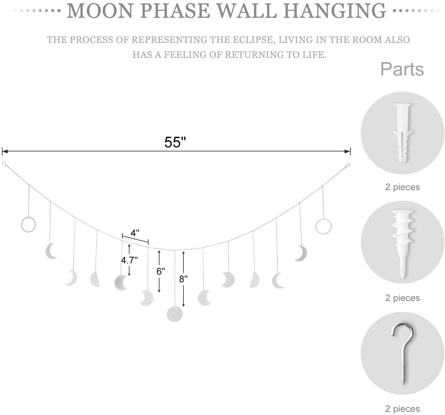 Mkono Moon Phase Wall Hanging Moon Garland Decor Boho Home Decoration Moon Hang Art Ornaments for Bedroom Headboard Living Room Dorm Nursery Apartment Office Valentines Day Gift 55 Gold