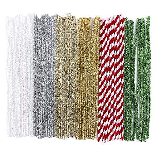 60 Pfeifenputzer/Pfeifenreiniger, Metallic, Plüsch & Glitzer, 30cm lang, Farben: weiß irisierend, silber, hellgold, gold, rot, grün | Basteln für Weihnachten, Zuckerstangen-Optik