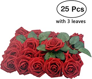 Lmeison Artificial Flower Rose, 25pcs Real Looking Artificial Roses w/Stem for Bridal Wedding Bouquets Centerpieces Baby Shower DIY Party Home Décor, Dark Red with 3 Leaves