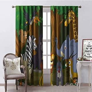 GloriaJohnson Animal Heat Insulation Curtain Cartoon Style Elephant Gazelle Giraffe Gorilla Lion Animals Illustration for Living Room or Bedroom W52 x L84 Inch Brown and Fern Green