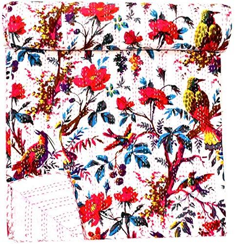 GANESHAM Kantha Vintage Gudari - Manta de lujo para decoración del hogar, estilo bohemio, floral, sábana decorativa Kantha, colcha hippie, bohemia, hecha a mano (90 x 108) pulgadas