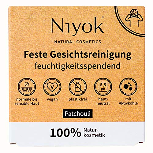 Niyok® feste Gesichtsreinigung | Naturkosmetik ohne Plastik Bio | wie Gesichtsseife | hautneutral vegan plastikfrei | Reinigung gegen Pickel | wie Seife mit Aktivkohle | Patchoulli (80g)