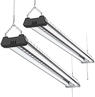 Sunco Lighting 2 Pack Industrial LED Shop Light, 4 FT, Linkable Integrated Fixture, 40W=260W, 5000K Daylight, 4000 LM, Surface + Suspension Mount, Pull Chain, Utility Light, Garage- Energy Star