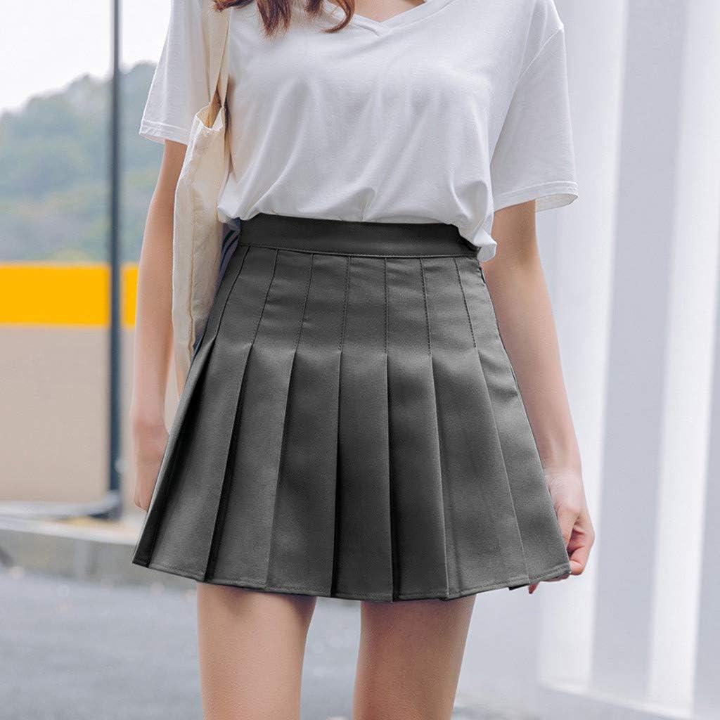 SSYUNO-dress Women Girls High Waisted Pleated Solid Mini Skirt Stretchy Flared Casual Short Skater Skirt Tennis Skirt