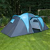 Skandika Hammerfest Family Dome Tent with Groundsheet, 2 Sleeping Cabins, 200 cm Peak Height, Blue,...