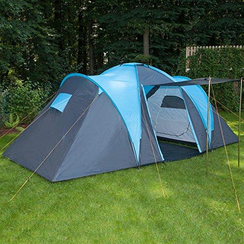 Skandika Hammerfest Family Dome Tent with Groundsheet, 2 Sleeping Cabins, 200 cm Peak Height, Blue, 4-Person
