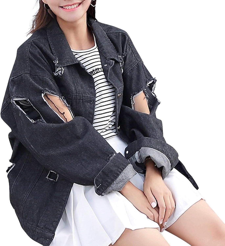 JudyBridal Womens Casual Long Sleeve Hole Lapel Loose Denim Jacket Coat