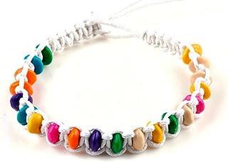 Braccialetto intrecciato Bianco con perline di legno colorate, ideale per l'amicizia o portafortuna