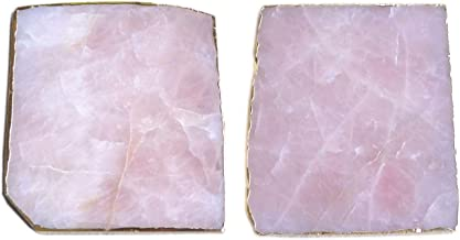 3.5'' Rose Quartz Coaster Natural Pink Crystal Gold Edge Nearly Square Bar Coasters Drink Coaster Barware Teacup Mat Stone...
