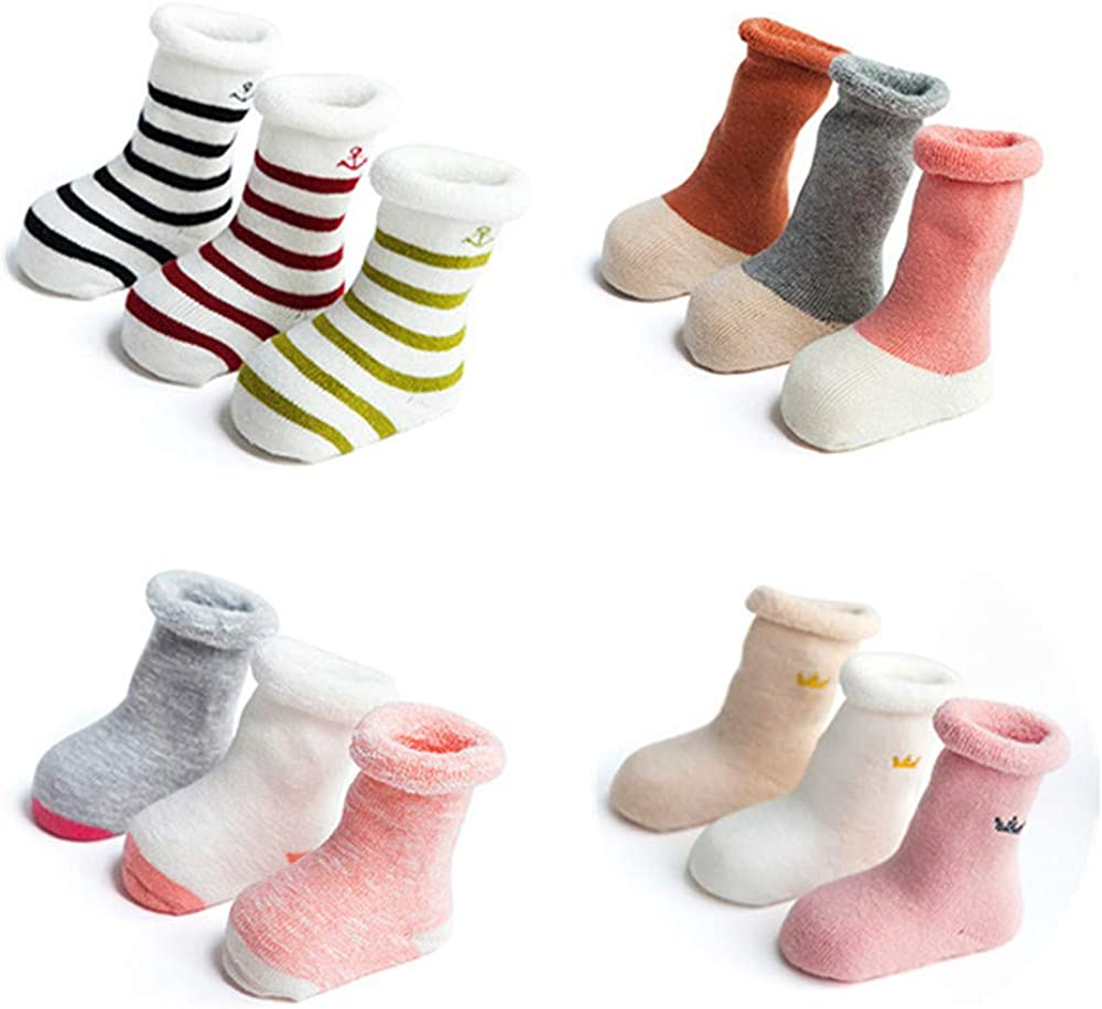 Thickened Baby Warm Socks - Soft Toddler Winter Socks 12 Pairs Middle Tube Cute Cartoon Cotton Socks For Toddler Girls