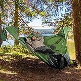 Single Hammock Swing Chair&Flat Sleep Hammock Tent with Bug Net and Suspension Kit - Portable Lightweight Camping Hammock - Nylon Parachute Hammocks for Backpacking, Backyard, Patio, Hiking