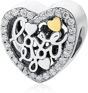i Love You' Calado Charm Corazón 925 Plata de Ley - Pulsera Charm para Charm Pandora Pulseras, San Valentín, Cumpleaños, de la Madre Regalo Dia Chapado en Oro Charms para Pulsera