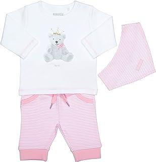 Staccato Unisex Baby 3-teiliges Geschenkset | Langarm-Shirt Hose Halstuch | White Blue, White Grey und White Rose Größe 50 56 62 für Jungen und Mädchen NewBorn
