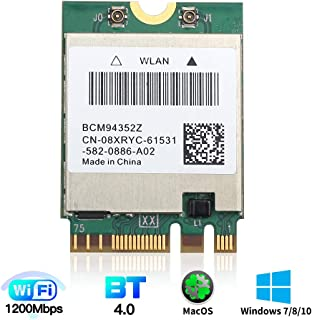 for macOS WiFi Card BCM94352Z M.2 NGFF 802.11a/b/g/n/ac 2.4G/5Ghz BT 4.0 1200Mbps WLAN Adapter for Windows 7/8/8.1/10 mac ...