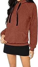 iHHAPY Womens Winter Hoodie Plush Sweatshirt Teddy Fleece Hoodie Long Sleeve Sweatshirt Hooded Solid Warm Loose Coat