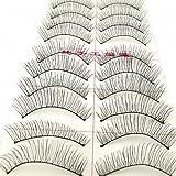 LTop eyelash10 Pairs Black Natural Eye Tail Long False Eyelashes Makeup Eye Lashes