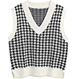 Jlihang Women Houndstooth Knitted Sweater Vest V Neck Casual Loose Oversized Vintage Pullover Tops (White)