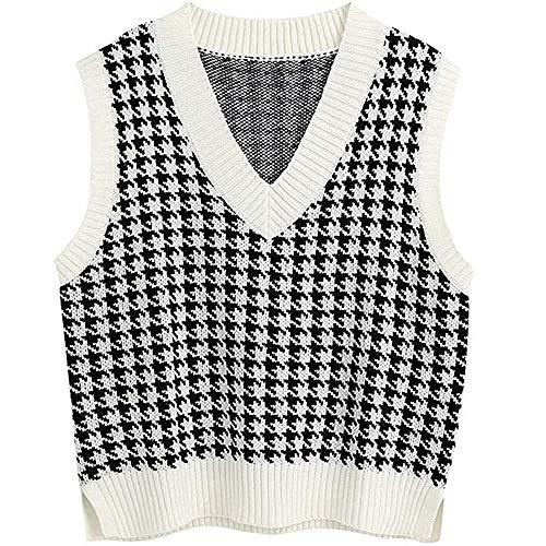 Jlihang Women Houndstooth Knitte...