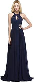 Halter Beaded Floral Lace Long Formal Dress with Keyhole