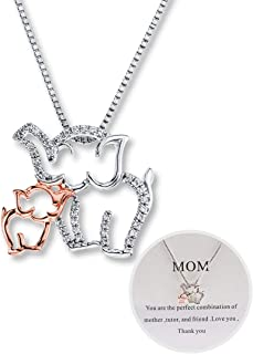 Mom and Baby Elephant Necklace for Mother's Day Personalized Mom Necklace Elephant Charm Necklace for Women Rose Gold and White Gold Design for Mom